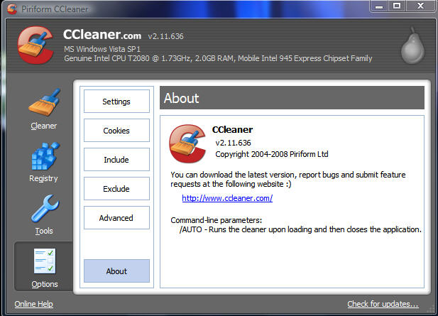 CCleaner Options